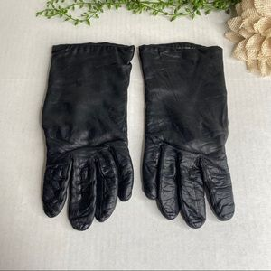 Vintage Black Leather Gloves Lined Size S/M